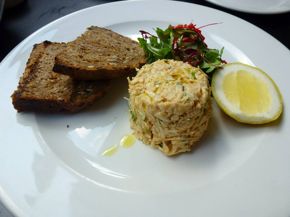 Potted crab, leafy salad