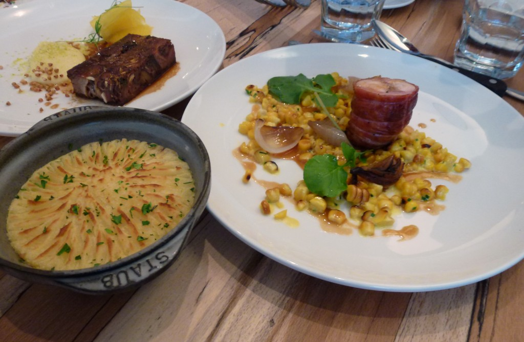 Saddle of rabbit, smoked corn, burnt onions, slow cooked shoulder cottage pie at arhutus