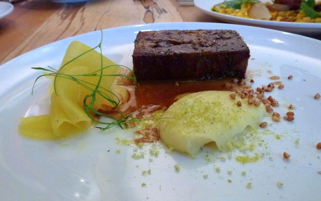 Warm crisp pigs head, potato puree, picked turnip, pistachio at arbutus