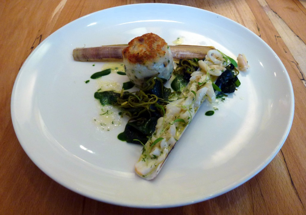 Squid and mackerel burger, parsley razor clams and sea purslane at arbutus