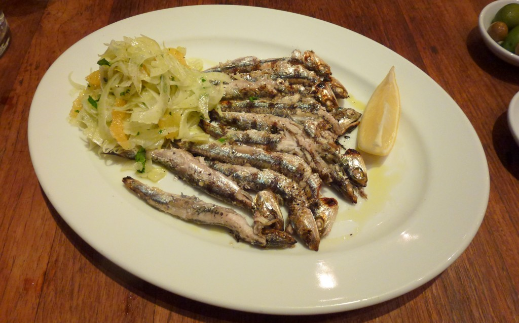 Grilled anchovies at bocca di lupo