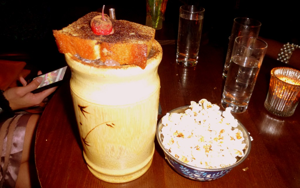 Barrel-Aged Zombie, buttery popcorn at bar nightjar