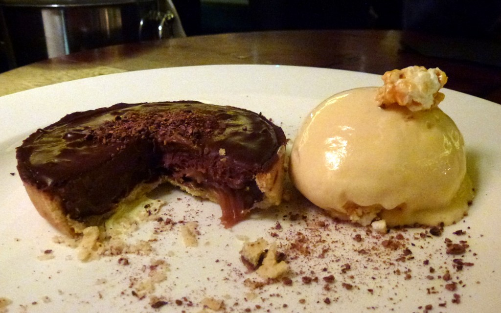 Salted caramel cup, popcorn ice cream at Hawksmoor air street