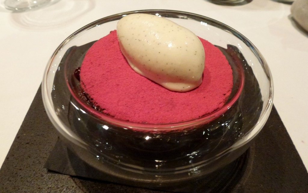 Warm chocolate, powdered raspberry, passionfruit jelly, vanilla ice cream at hedone