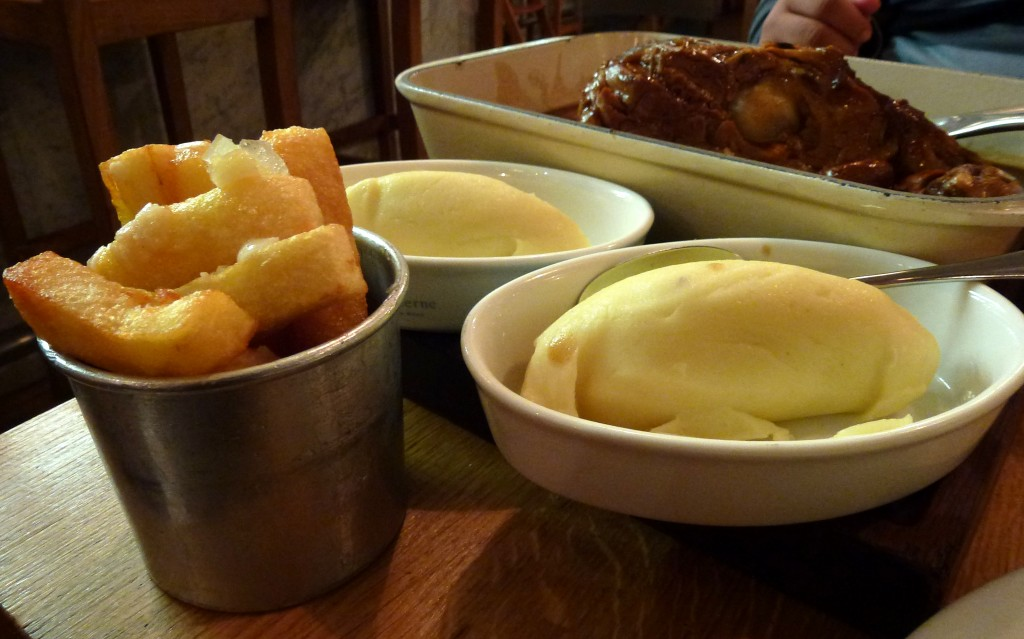 Triple cooked truffle chips, mash at toms kitchen