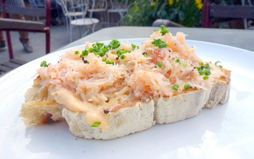 Crab on toast at smokehouse