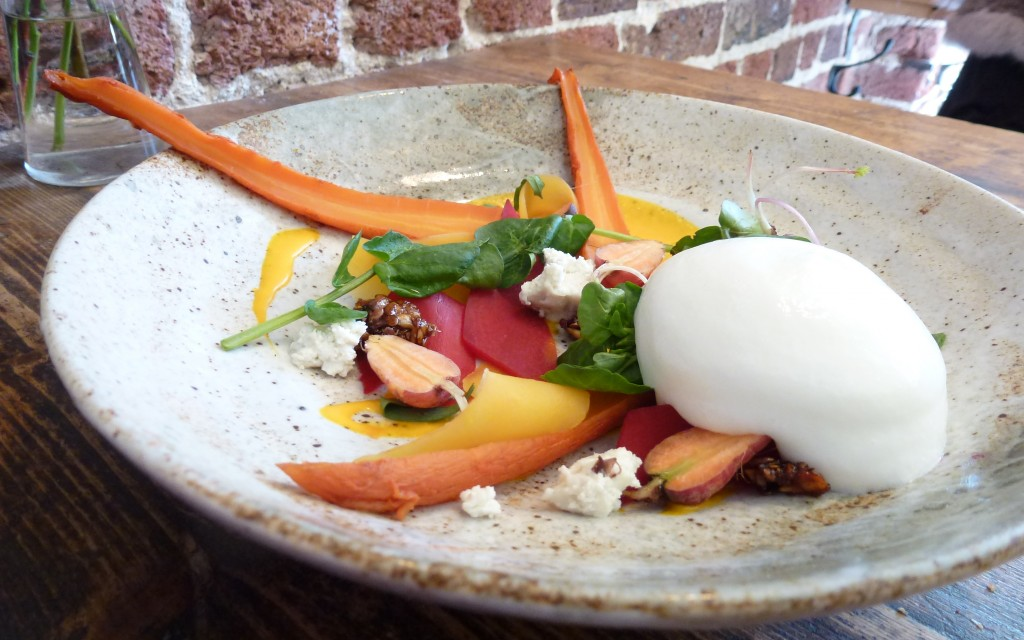 Carrots, goats cheese, oat granola, buttermilk at the dairy