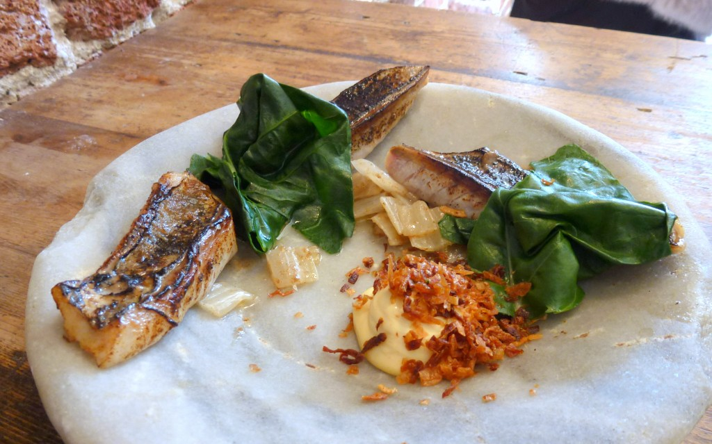 Mackerel, Swiss chard, bonito butter at the dairy