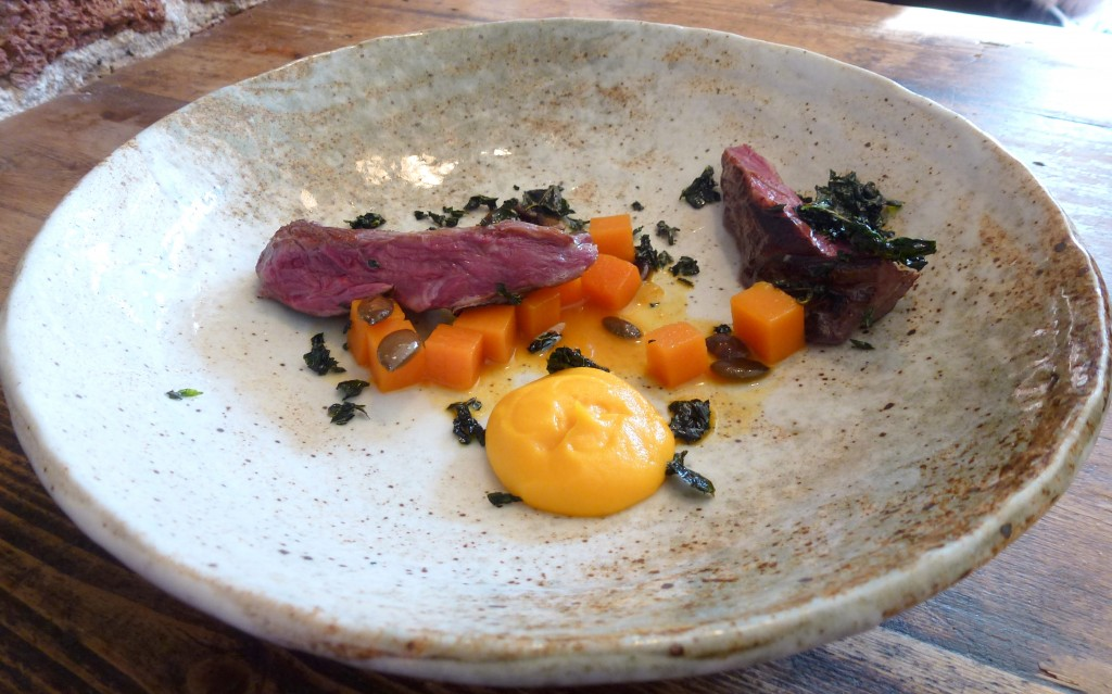 32 day aged Irish onglet, butternut squash at the dairy