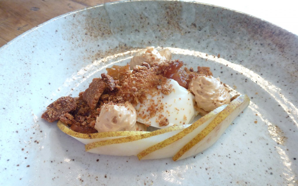 Pear, toasted white chocolate, sheeps yoghurt panna cotta at the dairy