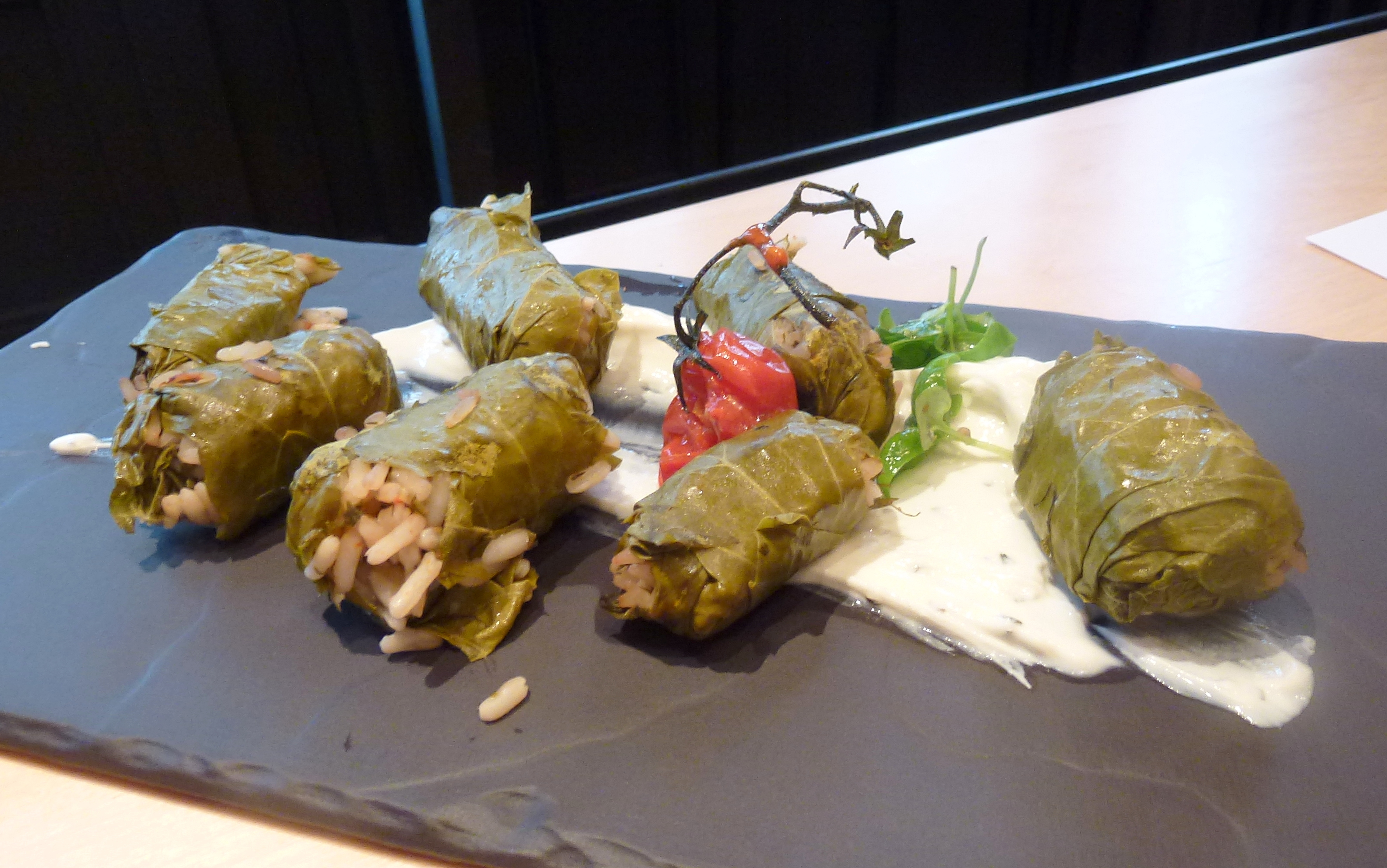Ntolmadakia stuffed vineleaves, mint yogurt at Ergon