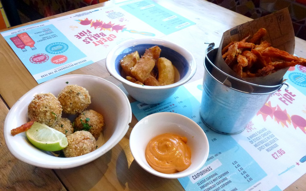 Rice balls, cassava chips, sweet potato fries at cabana