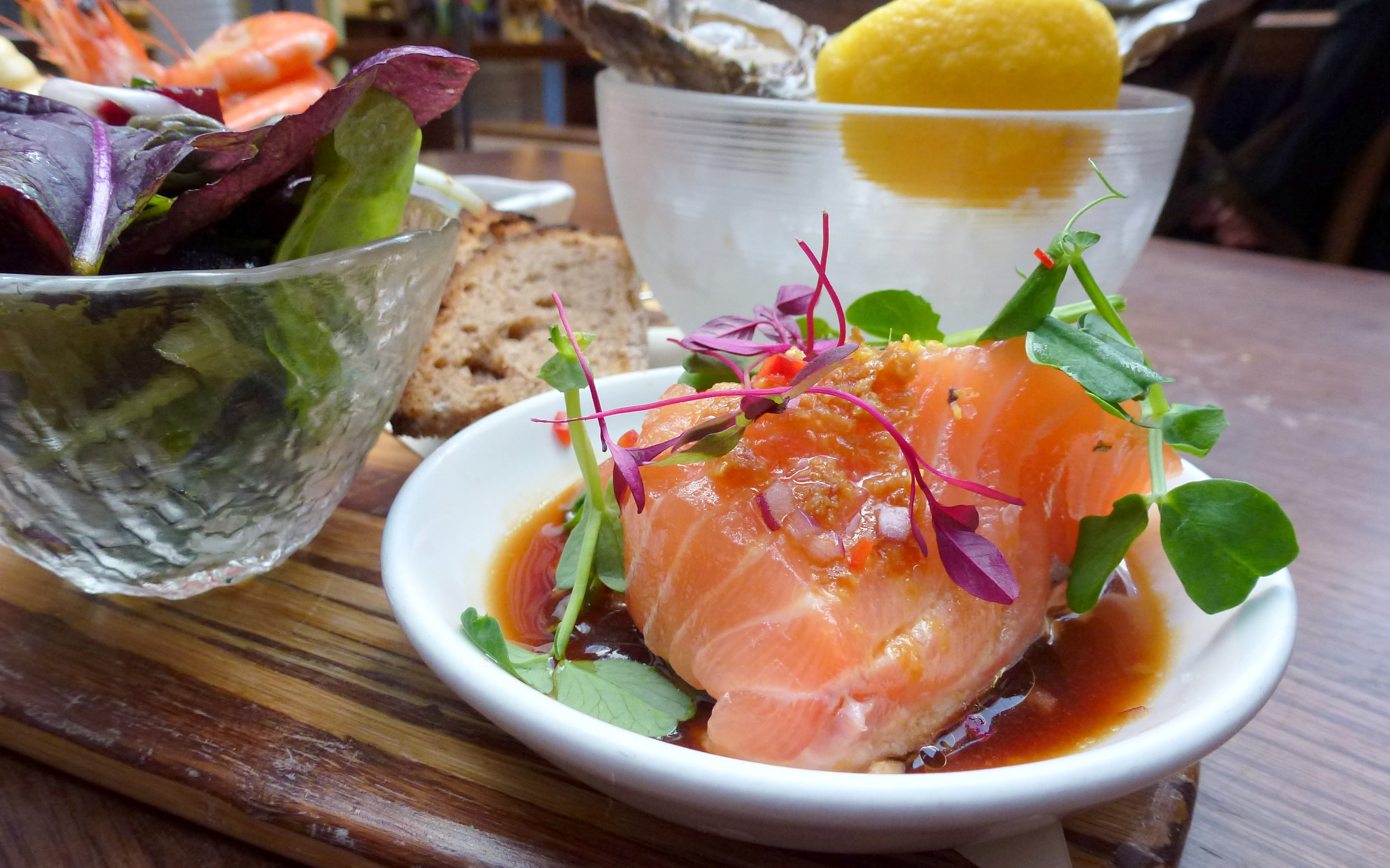 Surf Board rock oyster, salmon ceviche Wright Brothers