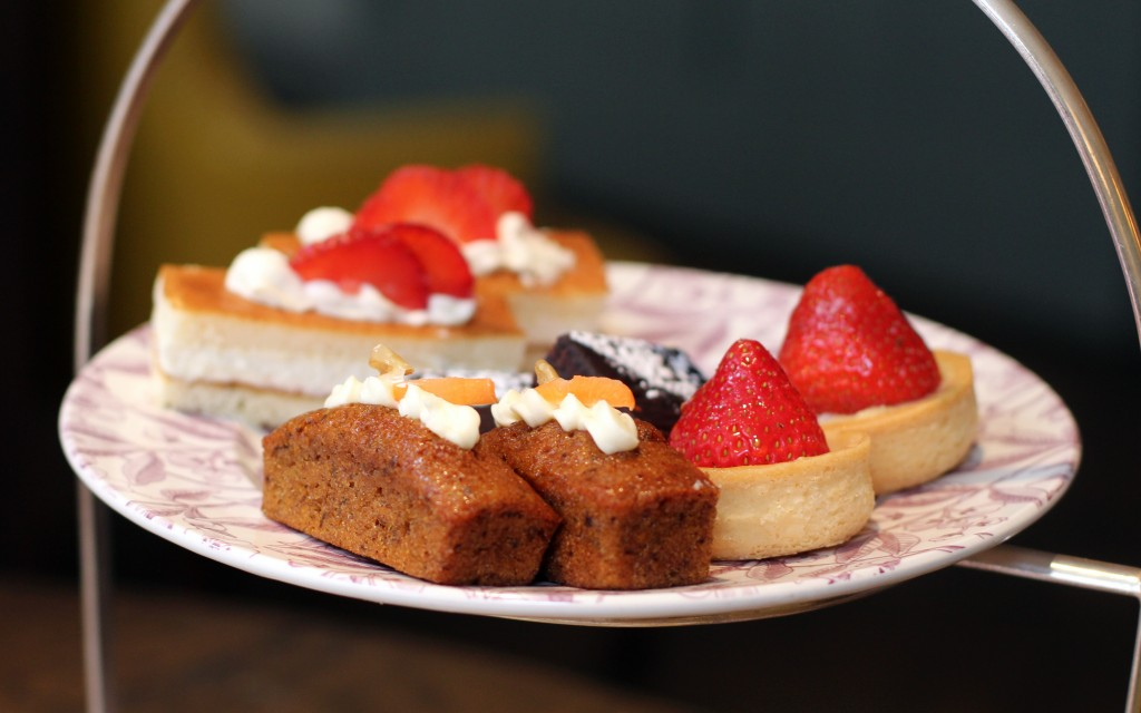 Brownies, carrot cake, strawberry tarts, Victoria sponges - Pantry at 108 Marylebone Afternoon Tea