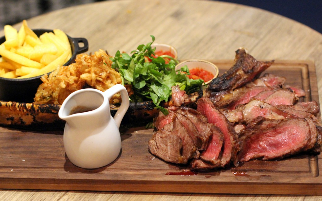 Sliced 200z Tomahawk steak, Forge bar London