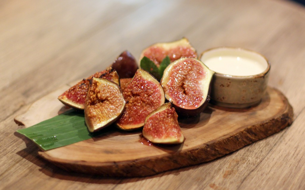 Grilled figs, honey creme fraiche, Forge bar London