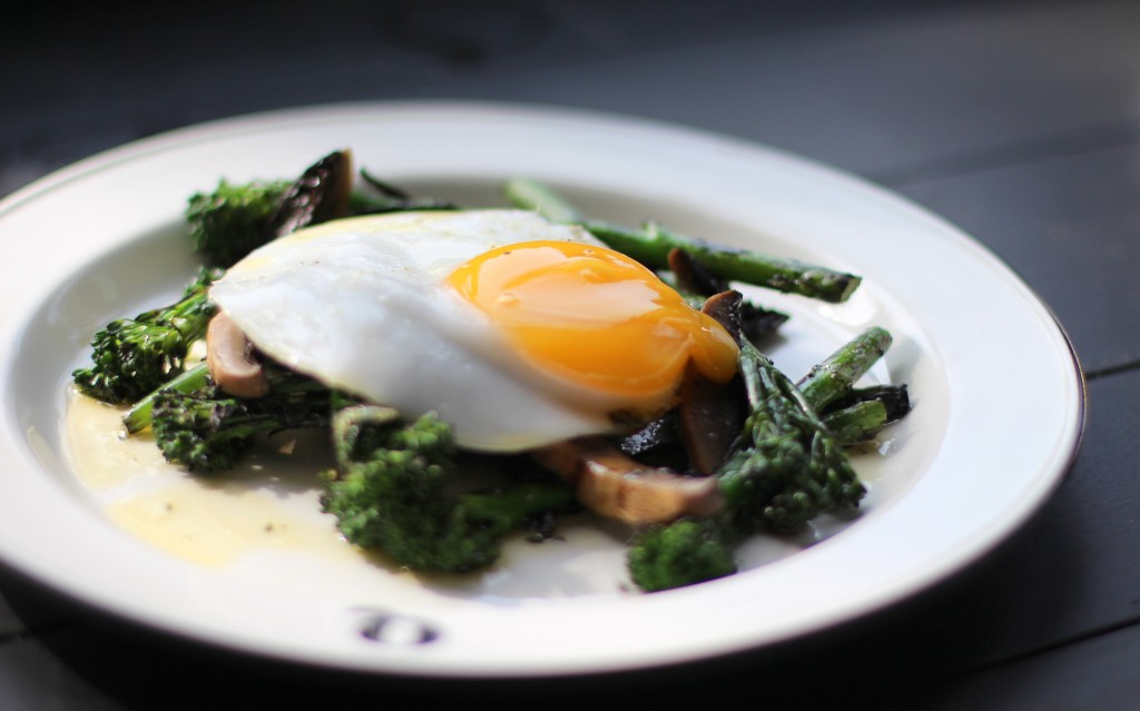 Grilled broccoli, wild mushrooms, fried duck egg, Q-Grill