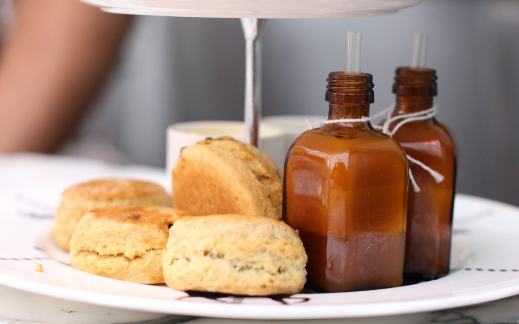 Sweet & herb scones, passionfruit mousse, Mad Hatter's afternoon tea at The Sanderson