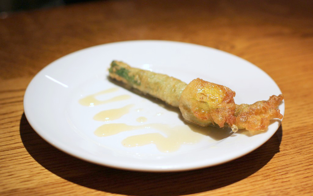 Goats' cheese stuffed courgette flower, honey , Ember Yard