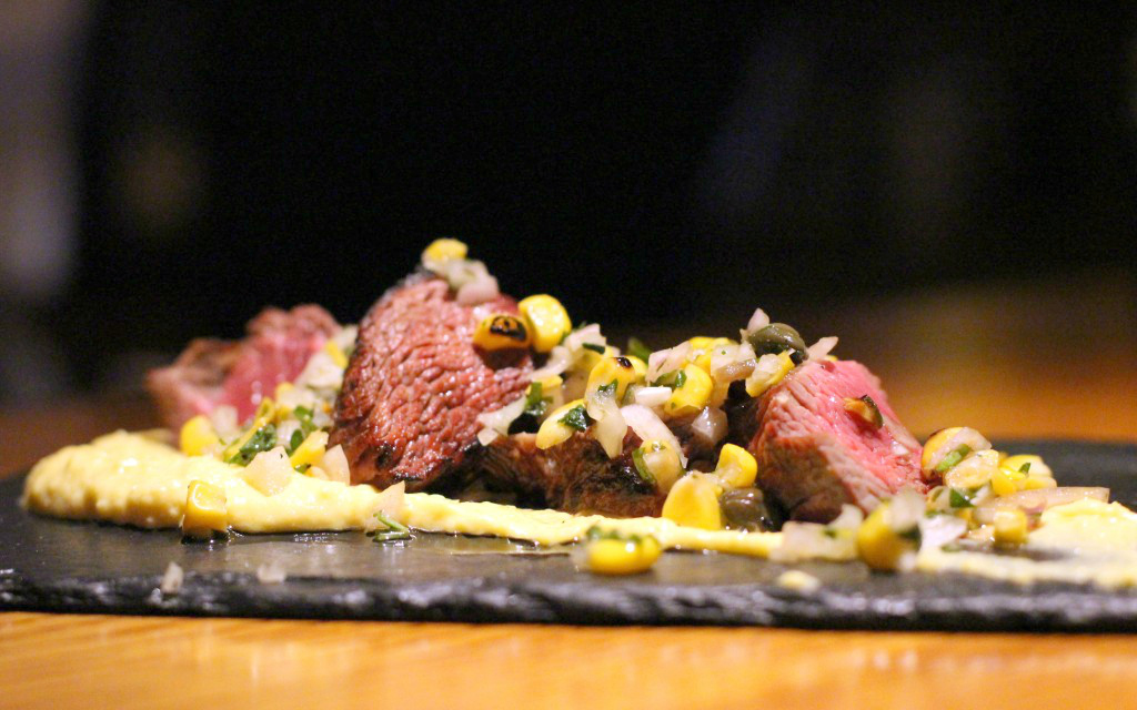 Beef, corn puree, chargrilled corn, capers