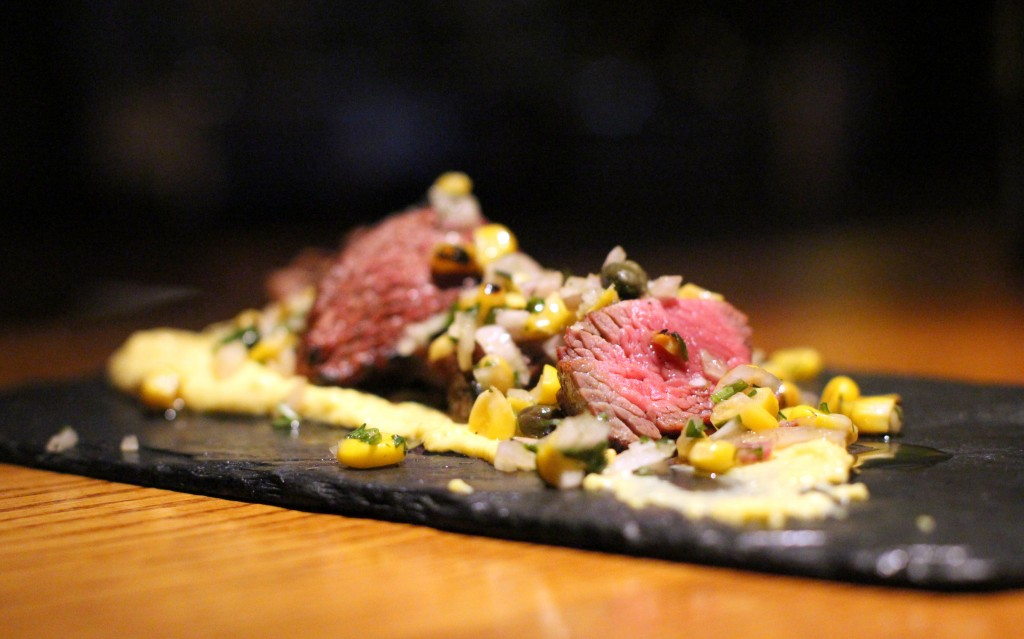 Beef, corn puree, chargrilled corn, capers Ember Yard