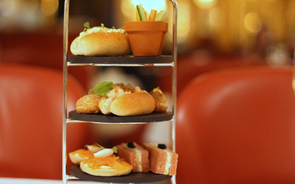 Savoury buns & sandwiches, Afternoon tea at Oscar Wilde Bar Hotel Cafe Royal, London
