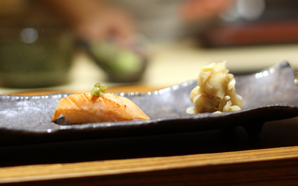 Belly of salmon with kizami wasabi and soy sushi nigiri, kouzu Japaense Victoria Belgravia