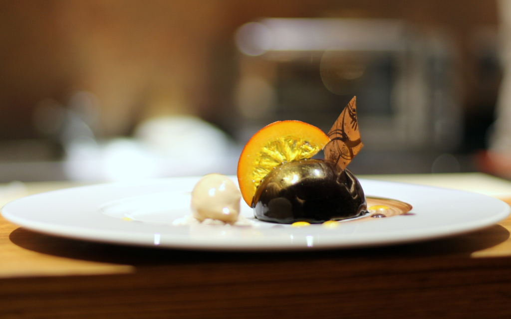 Chocolate and yuzu sphere, kouzu Japaense Victoria Belgravia